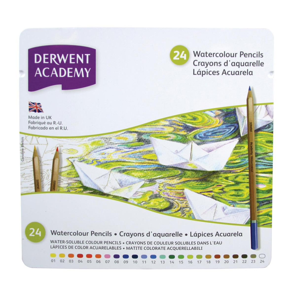 Derwent Academy Watercolour Pencils High-quality Pigments Assorted Ref 2301942 Pack 24