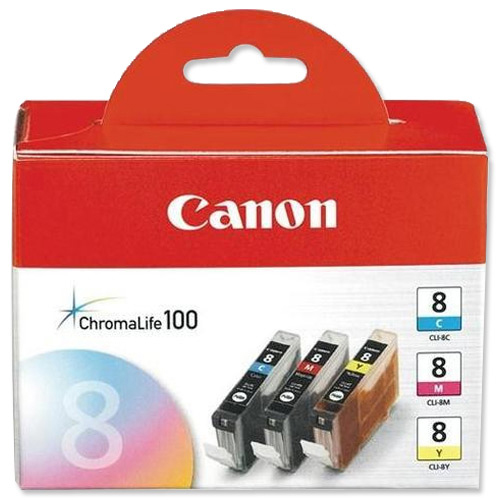 Canon CLI-8 IJ Cart Page Life790pp Cyan/Page Life 565pp Mag/Page Life 280ppYellow 13ml Ref CLI-8Pack 3