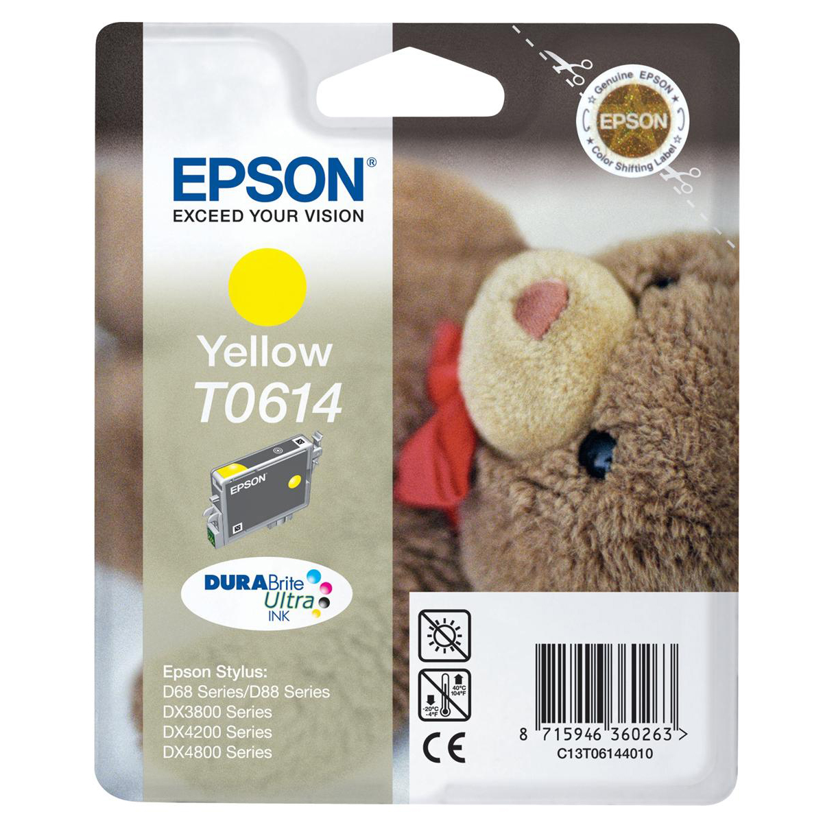 Epson T0614 Inkjet Cartridge Teddybear Page Life 250pp 8ml Yellow Ref C13T06144010