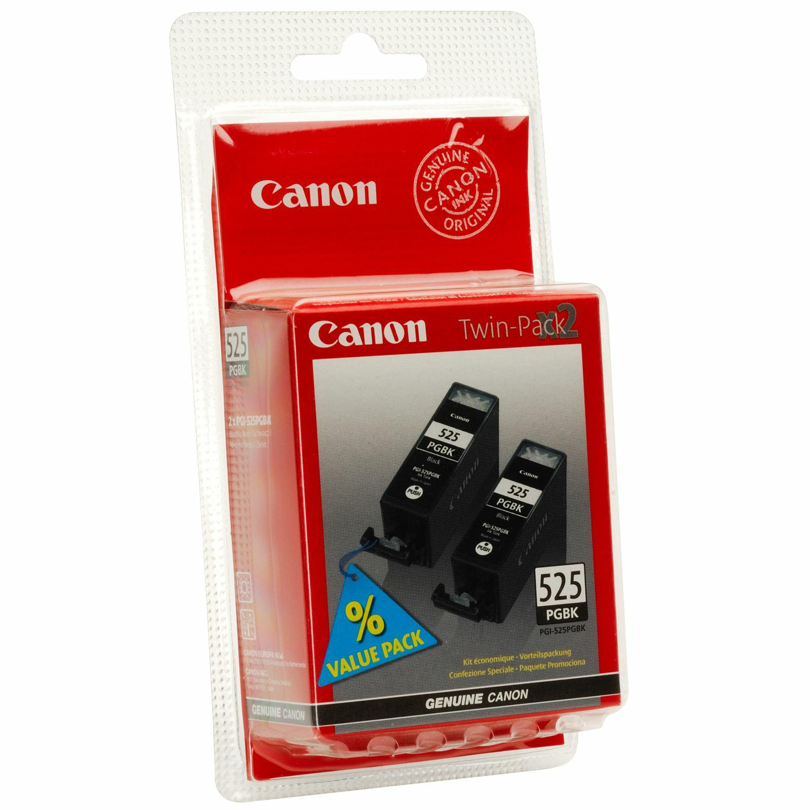 Canon PGI-525PGBK Inkjet Cartridges Page Life 341pp 19ml Black Ref 4529B006/10 Pack 2