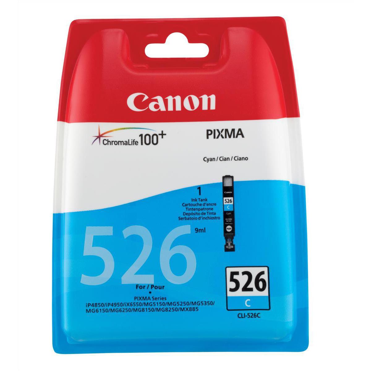 Canon CLI-526C Inkjet Cartridge Page Life 207pp Cyan Ref 4541B001