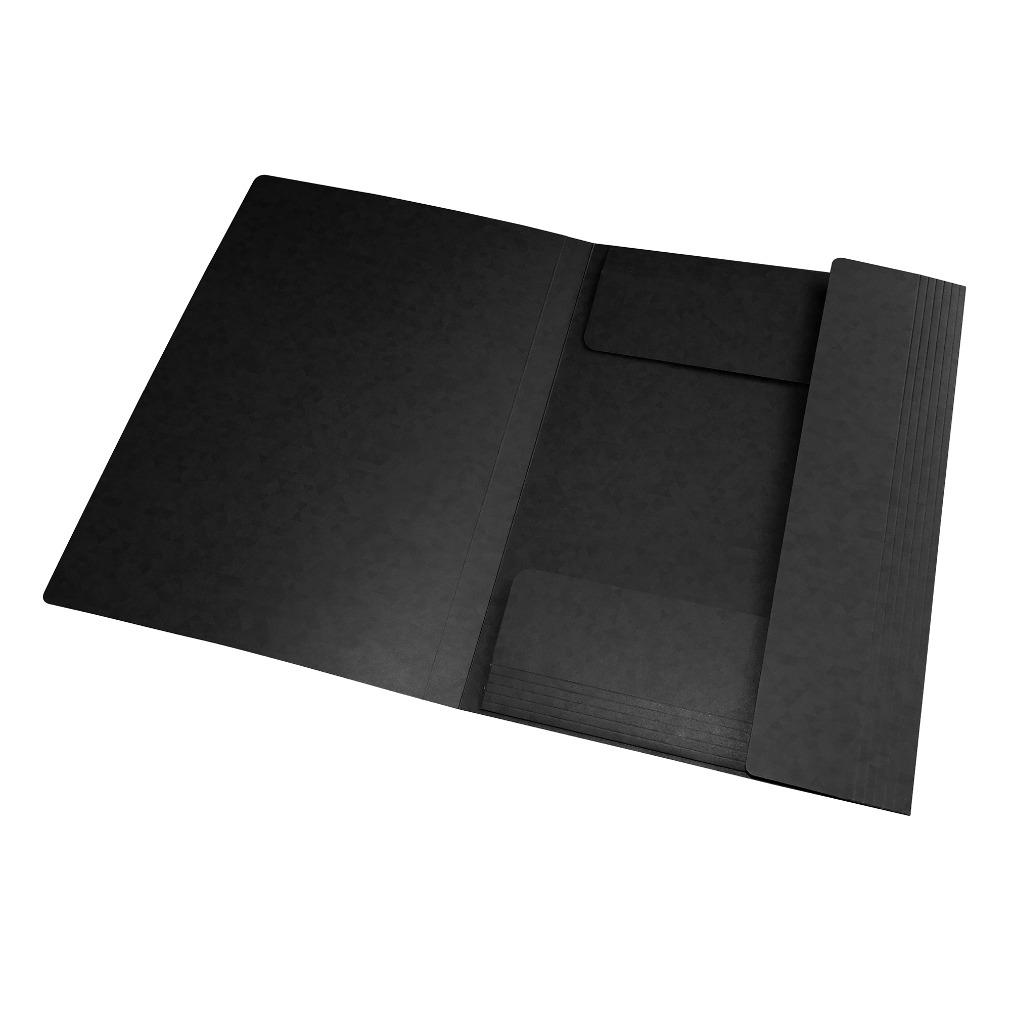 Oxford Elasticated 3-Flap Folder 450gsm Manilla A4 Black Ref 400114334 [Pack 10]