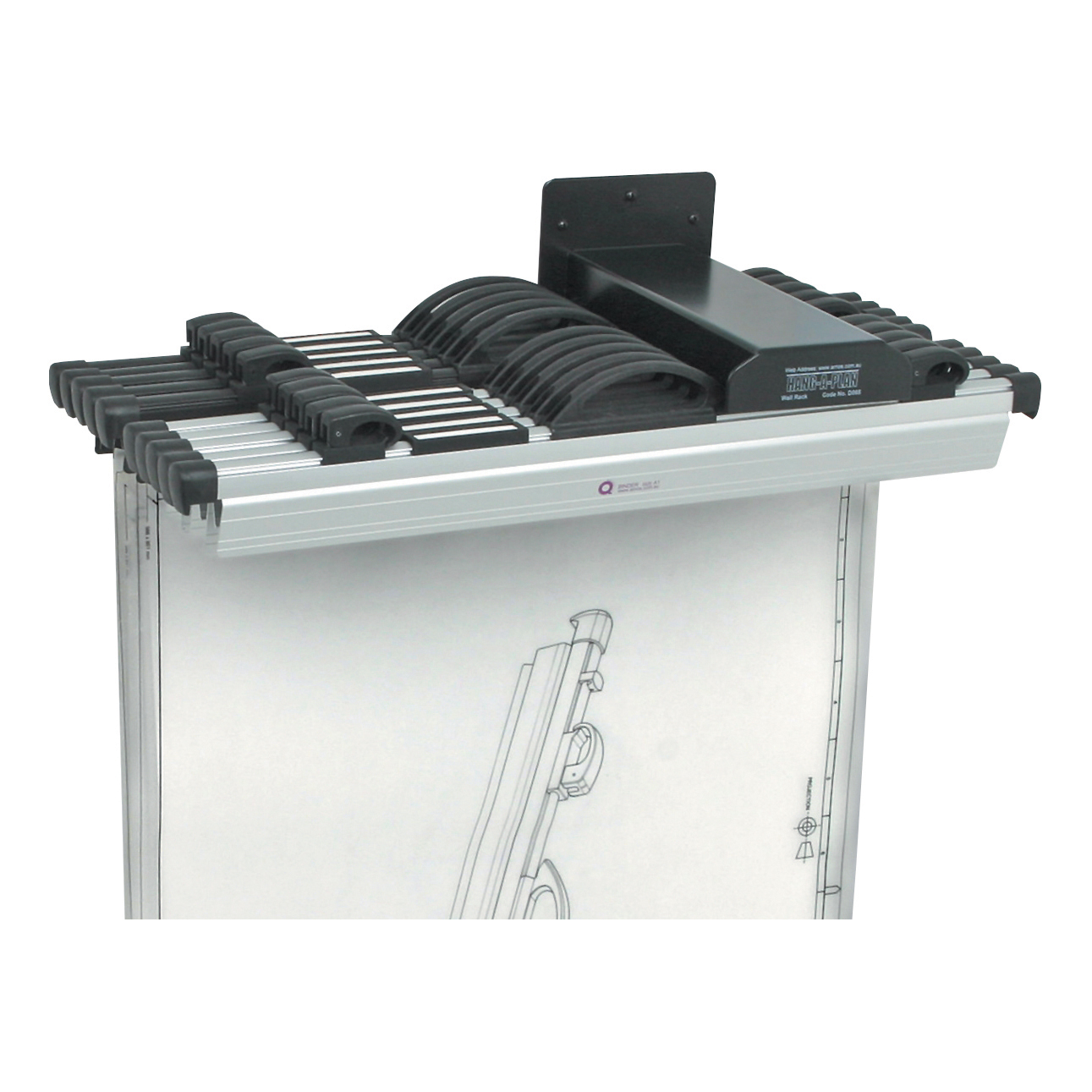 Drawing Holders & Accessories Arnos Hang-A-Plan Front Load Wall Rack for 10 Binders A0-A2 W140xD300xH100mm Ref 1200