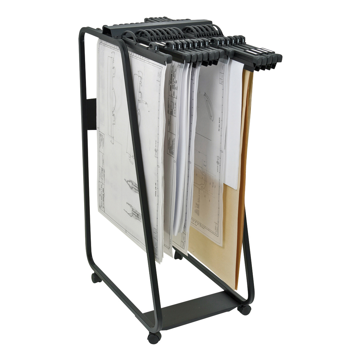 Trolleys or accessories Arnos Hang-A-Plan General Front Load Trolley for Approx 20 Binders A0-A1-A2-B1 W550xD800xH1320mm Ref D060