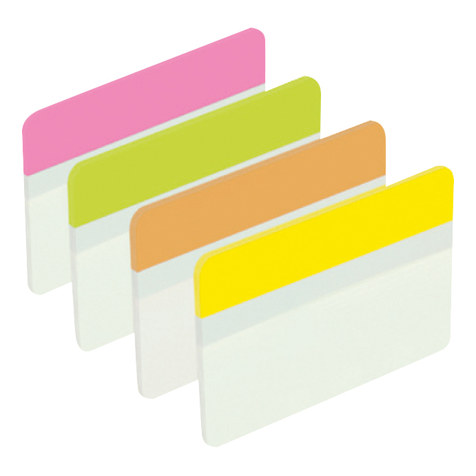 Post-it Index Filing Tabs Strong Flat 51x38mm Six Each of Pin/Lim/Ora/Yel Ref 686-PLOY [Pack 24]