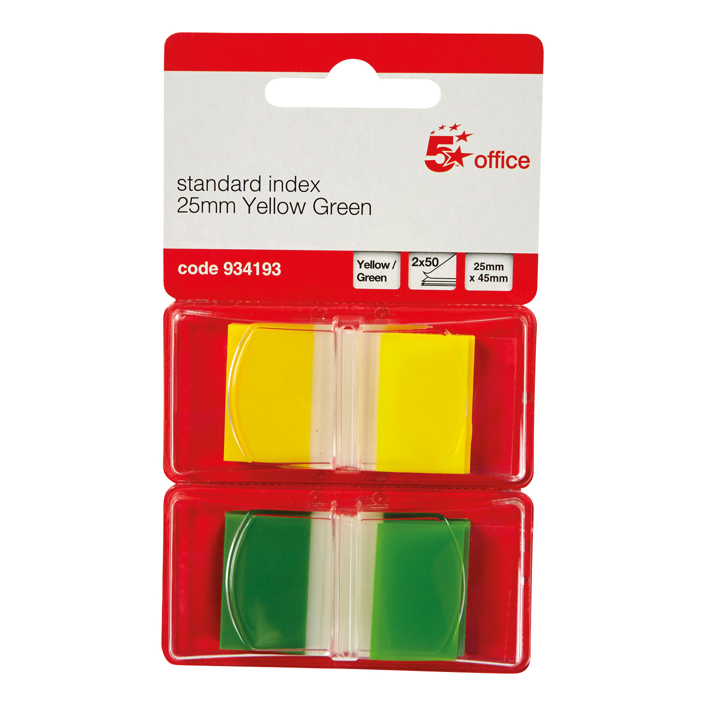 Indexes 5 Star Office Index Flags 50 per Pack 25mm Yellow and Green Pack 2