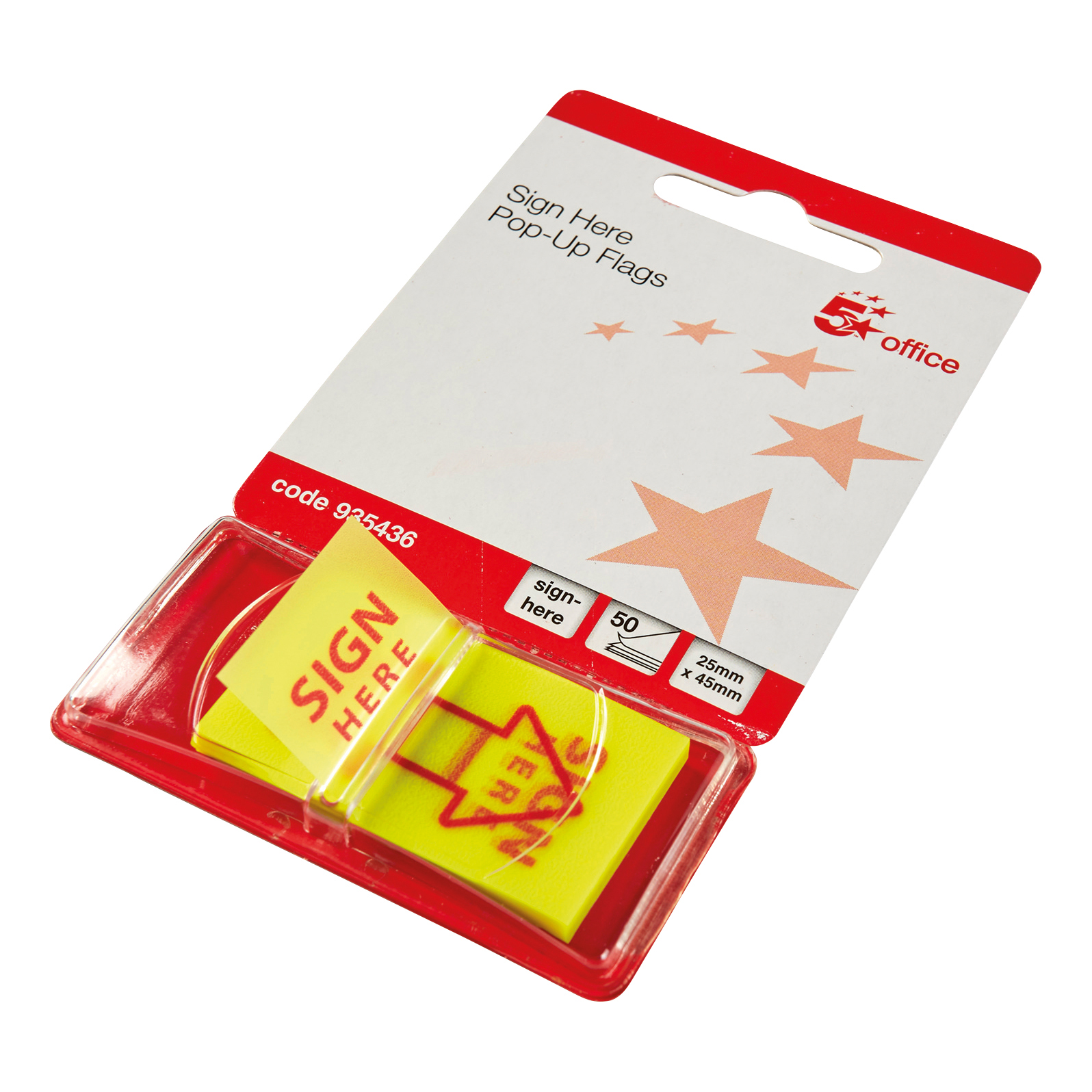 5 Star Office Sign Here Index Flags Tab With Red Arrow 46x25mm 10 Wallets of 50 Flags 500 Flags