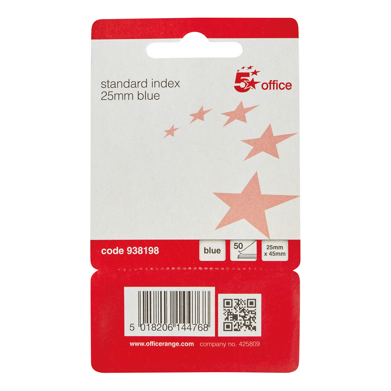 5 Star Office Standard Index Flags 25x45mm Blue Pack 5