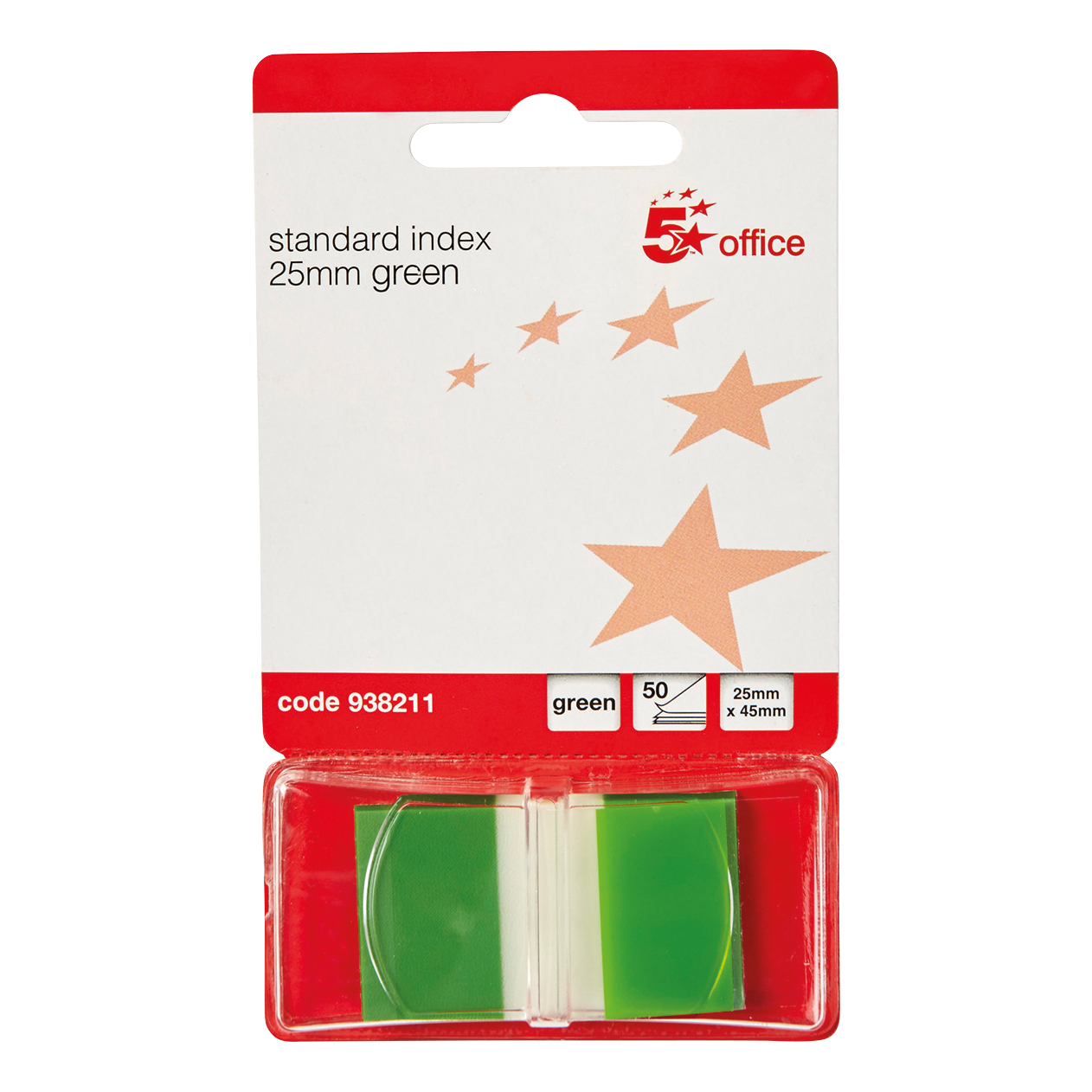 5 Star Office Standard Index Flags 50 Sheets per Pad 25x45mm Green Pack 5