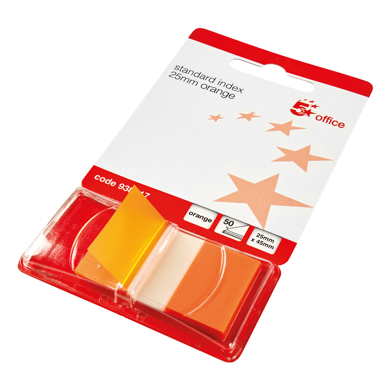5 Star Office Standard Index Flags 50 Sheets per Pad 25x45mm Orange [Pack 5]