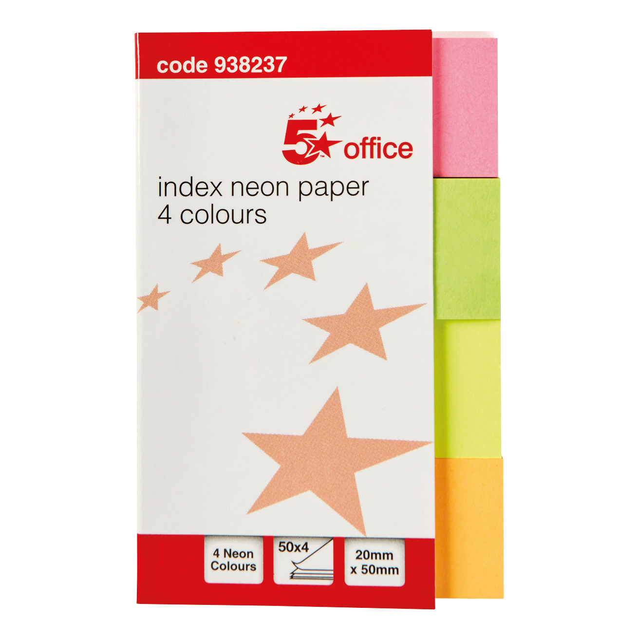 Tabs 5 Star Office Index Neon Paper Page Markers 20x50mm 50 Sheets per Colour Assorted Pack 5