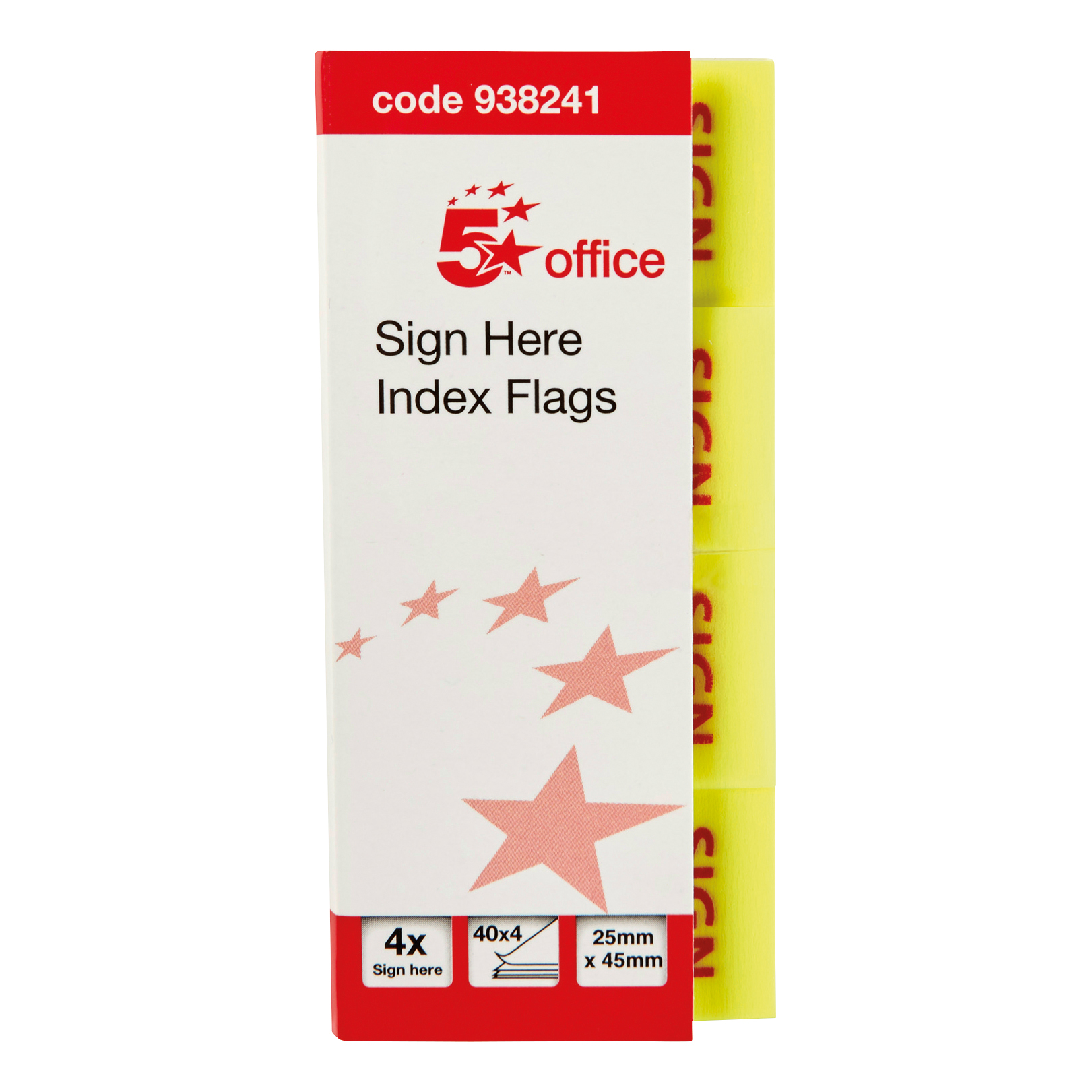 Tabs 5 Star Office Sign Here Index Flags Tab With Red Arrow 46x25mm 40x4 per cover 5 covers 800 Flags