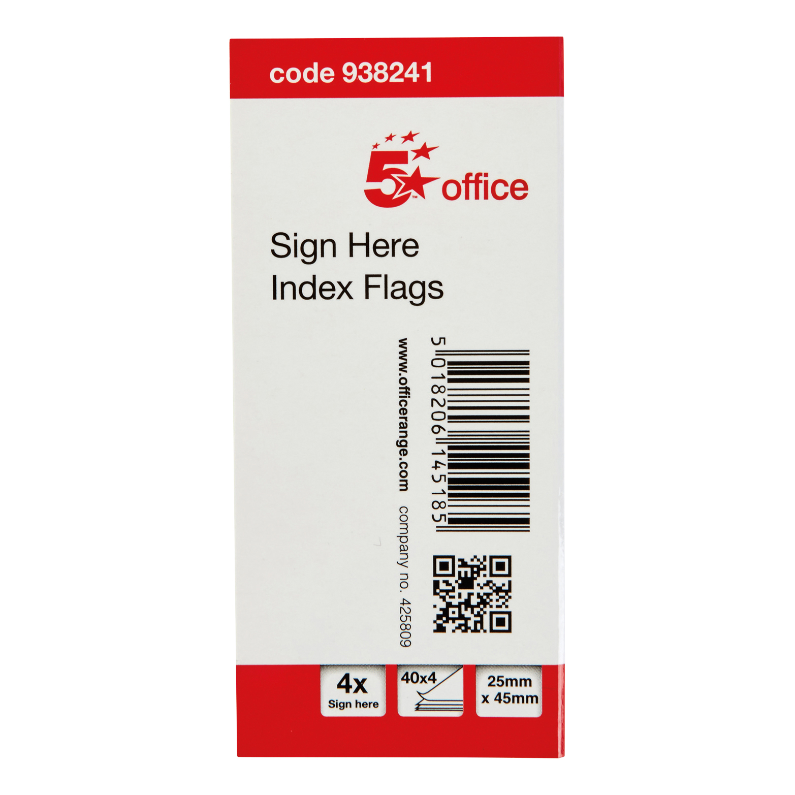 5 Star Office Sign Here Index Flags Tab With Red Arrow 46x25mm 40x4 per cover 5 covers 800 Flags