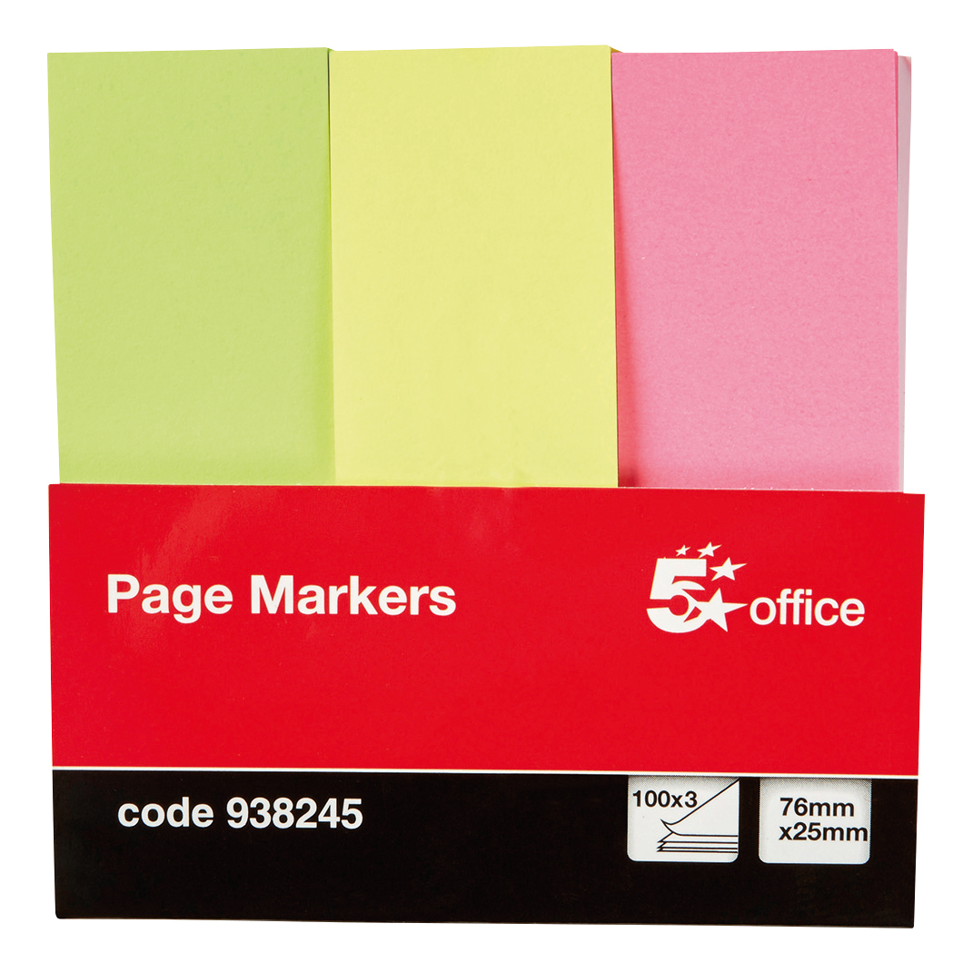 Tabs 5 Star Office Index Neon Paper Page Markers 25x76mm 100 Sheets per Pad Assorted (Pack 1)