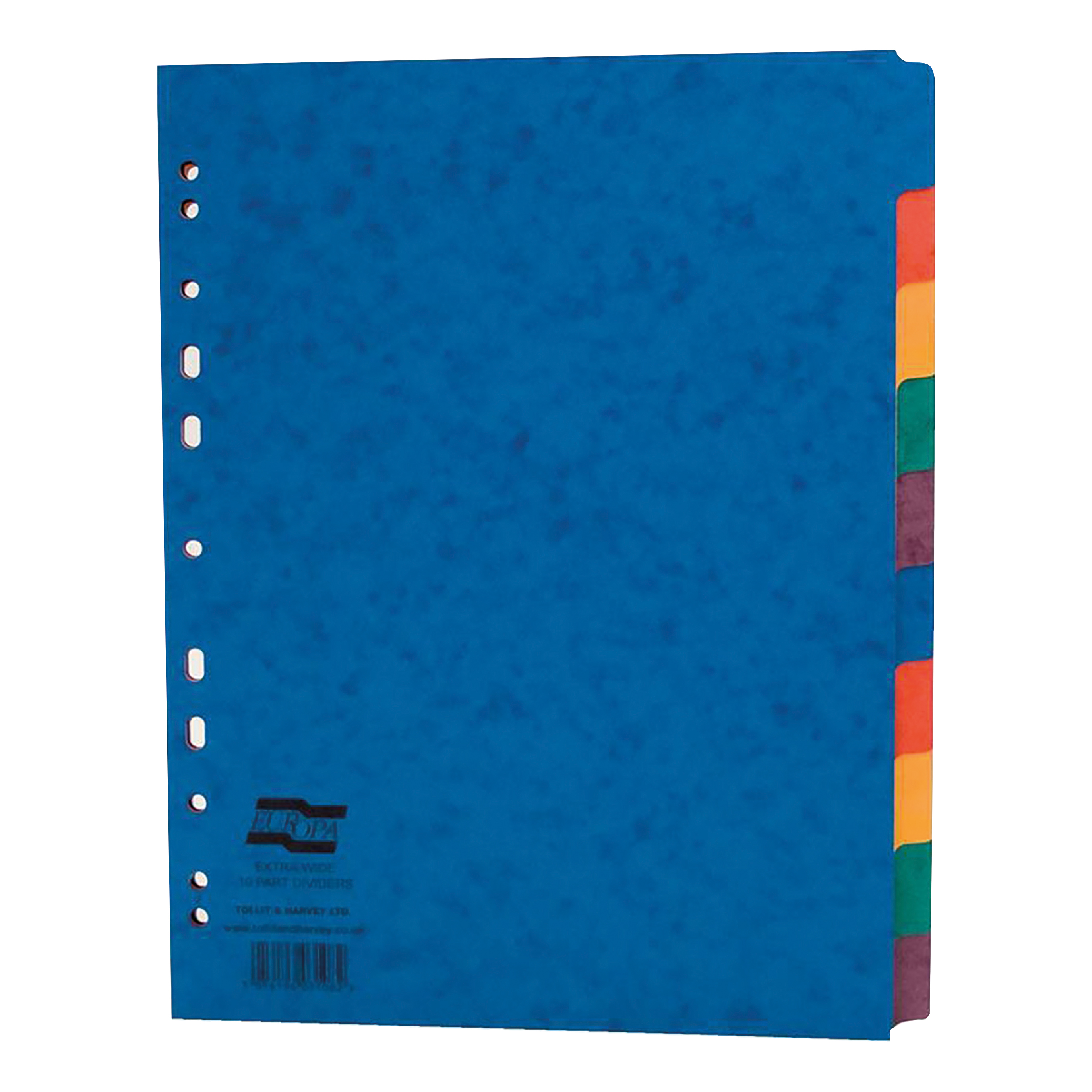 Europa Heavy-duty Subject Dividers 10-Part Card Multipunched 300gsm Extra Wide A4+ Assorted Ref 2410E