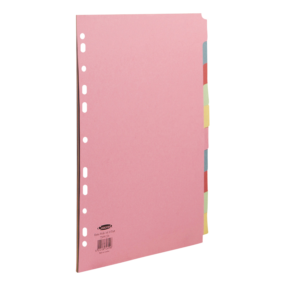 Concord Subject Dividers 10-Part Multipunched Extra Wide 160gam Extra Wide A4+ Assorted Ref 72699/J26