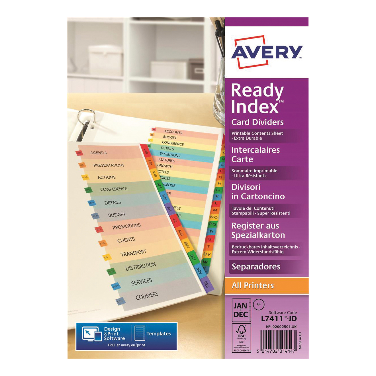Avery ReadyIndex 10-Part Punched Mylar-reinforced Multicolour-Tabs 200gsm A4 White Ref 01971501.UK
