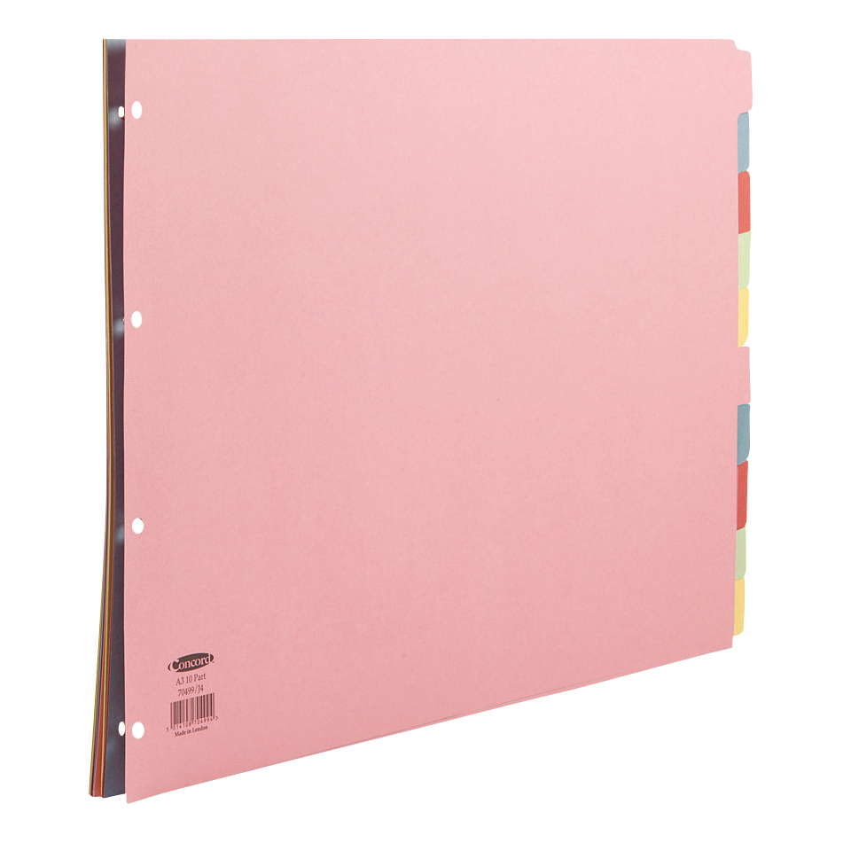 Concord Subject Dividers 10-Part Multipunched 160gsm Landscape A3 Assorted Ref 70499/J4