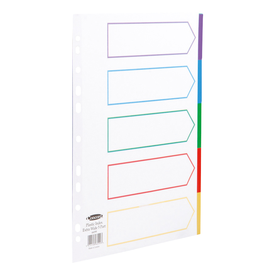Dividers Concord Dividers 5-Part Polypropylene Reinforced Coloured-Tabs 120 Micron Extra Wide A4+ White Ref 66099