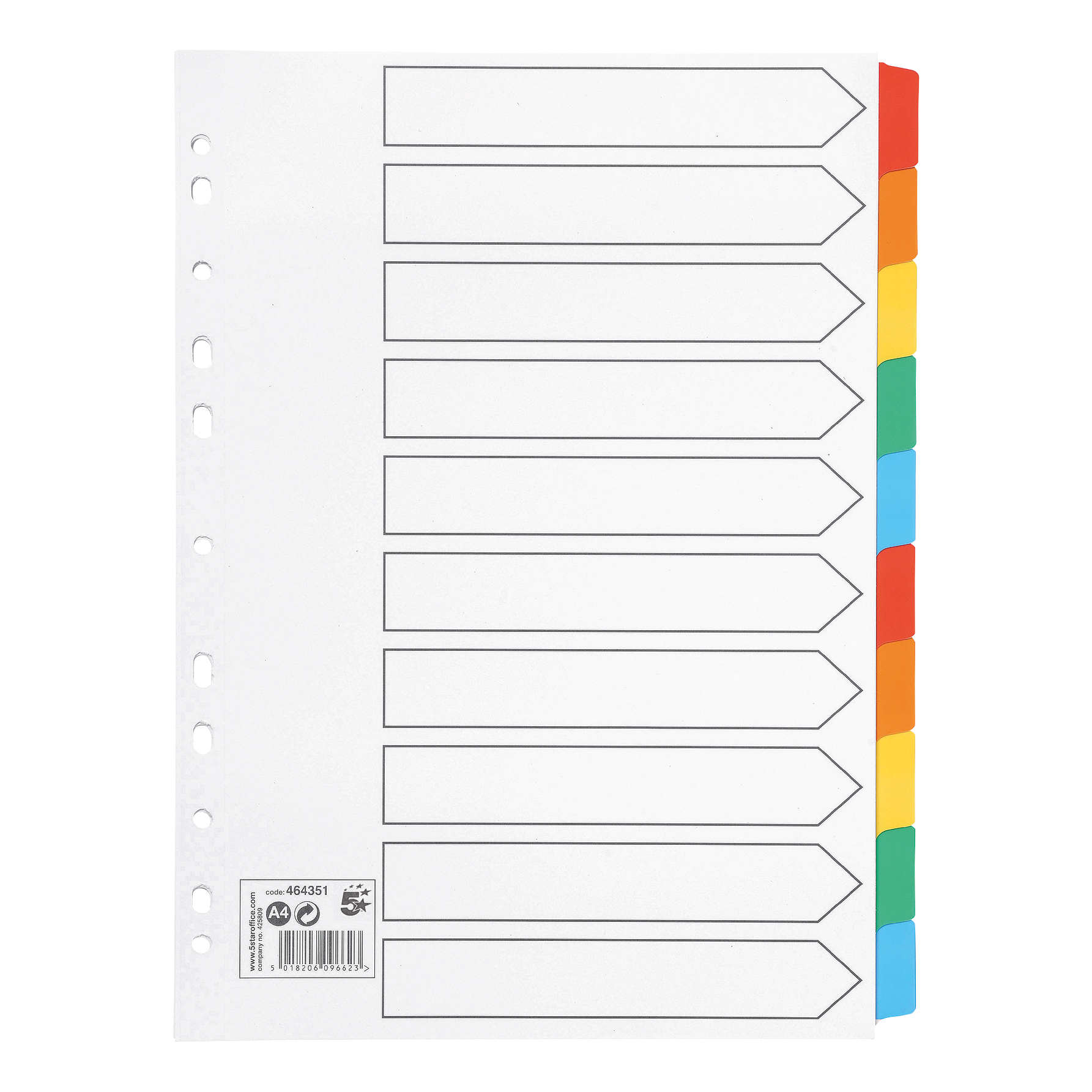 Dividers 5 Star Office Subject Dividers 10-Part Multipunched Mylar-reinforced Multicolour-Tabs 150gsm A4 Whites
