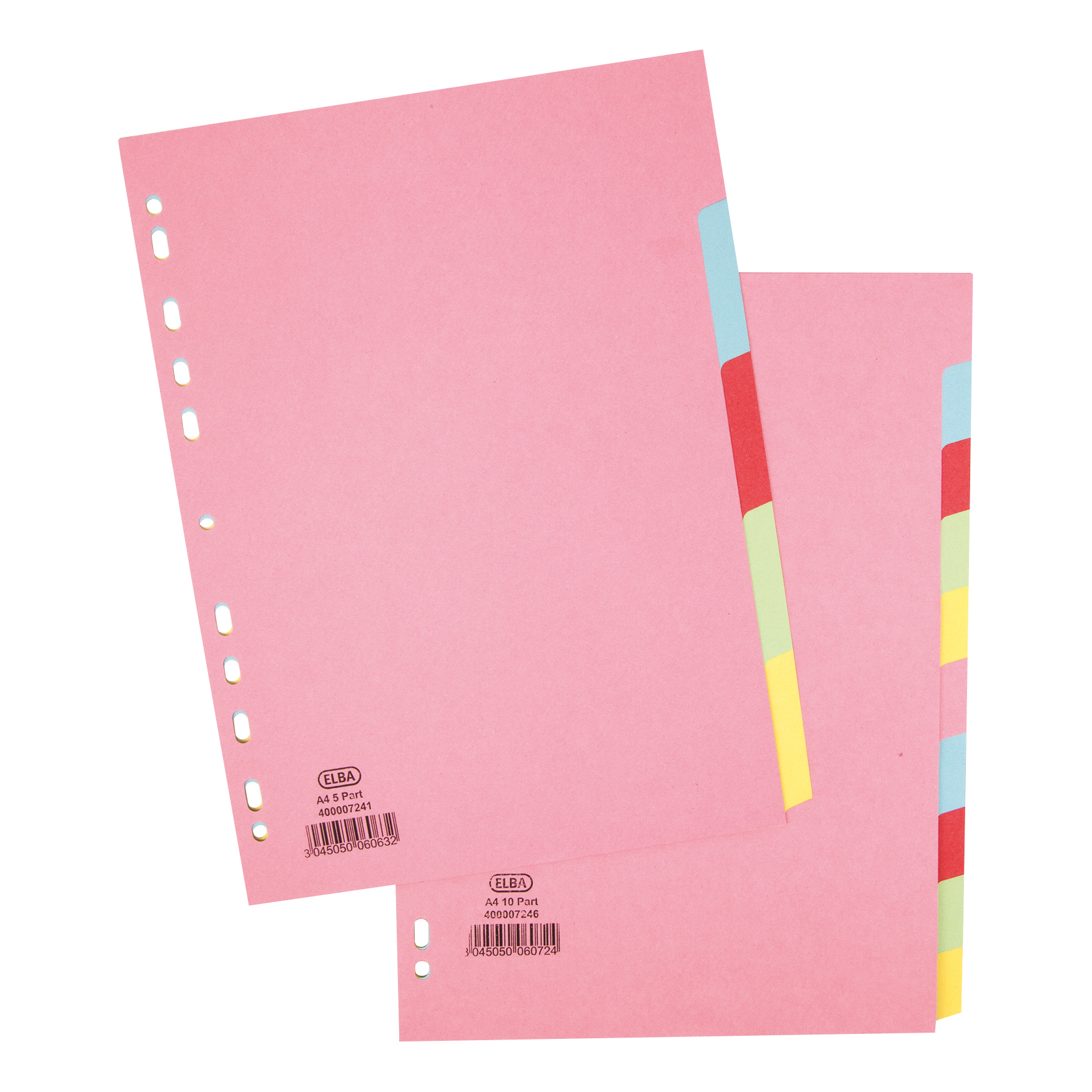 Elba Subject Dividers 5-Part Card Multipunched Recyclable 160gsm A4 Assorted Ref 400007241