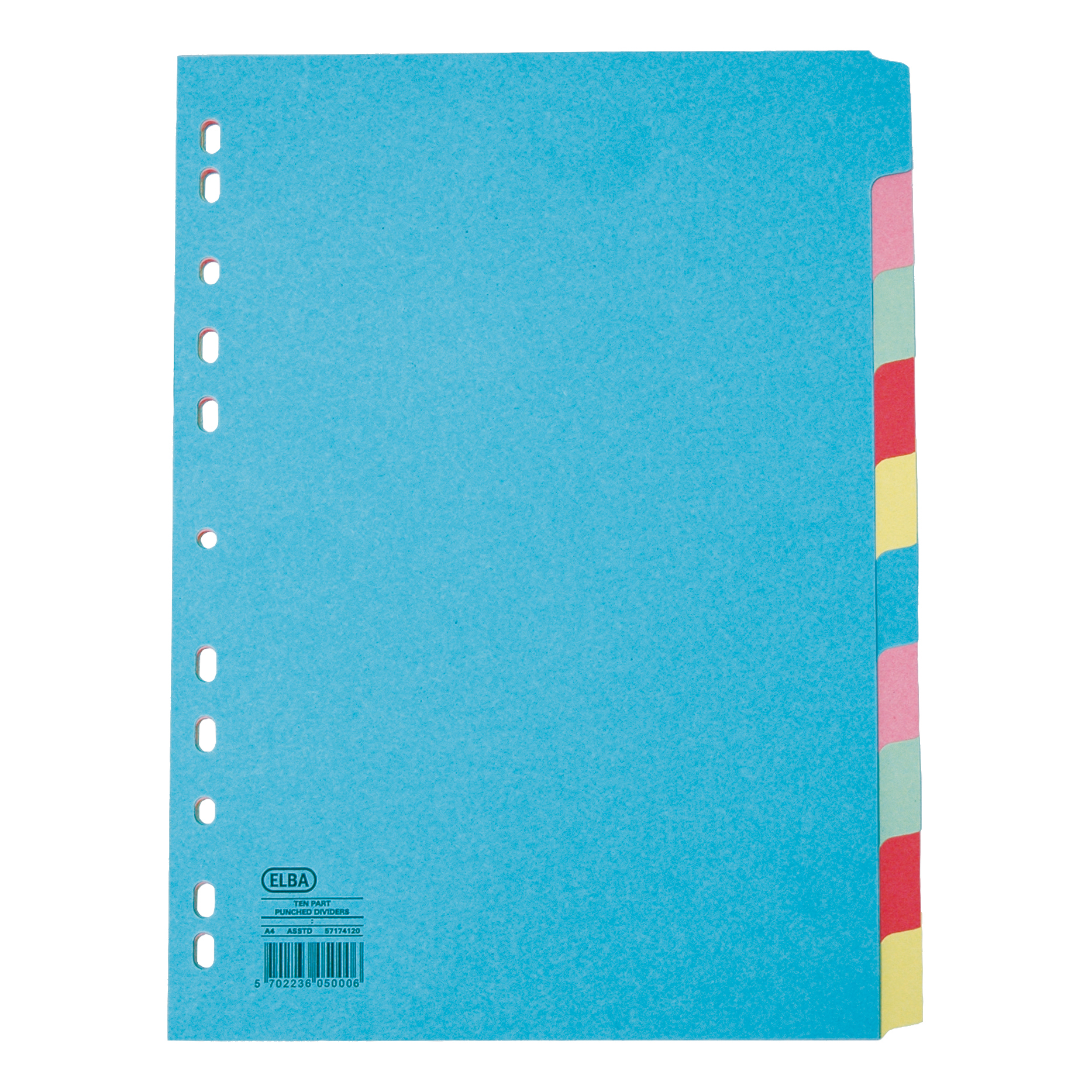 Image for Elba Subject Dividers 10-Part Card Multipunched Recyclable 160gsm Extra Wide A4+ Assorted Ref 400007242