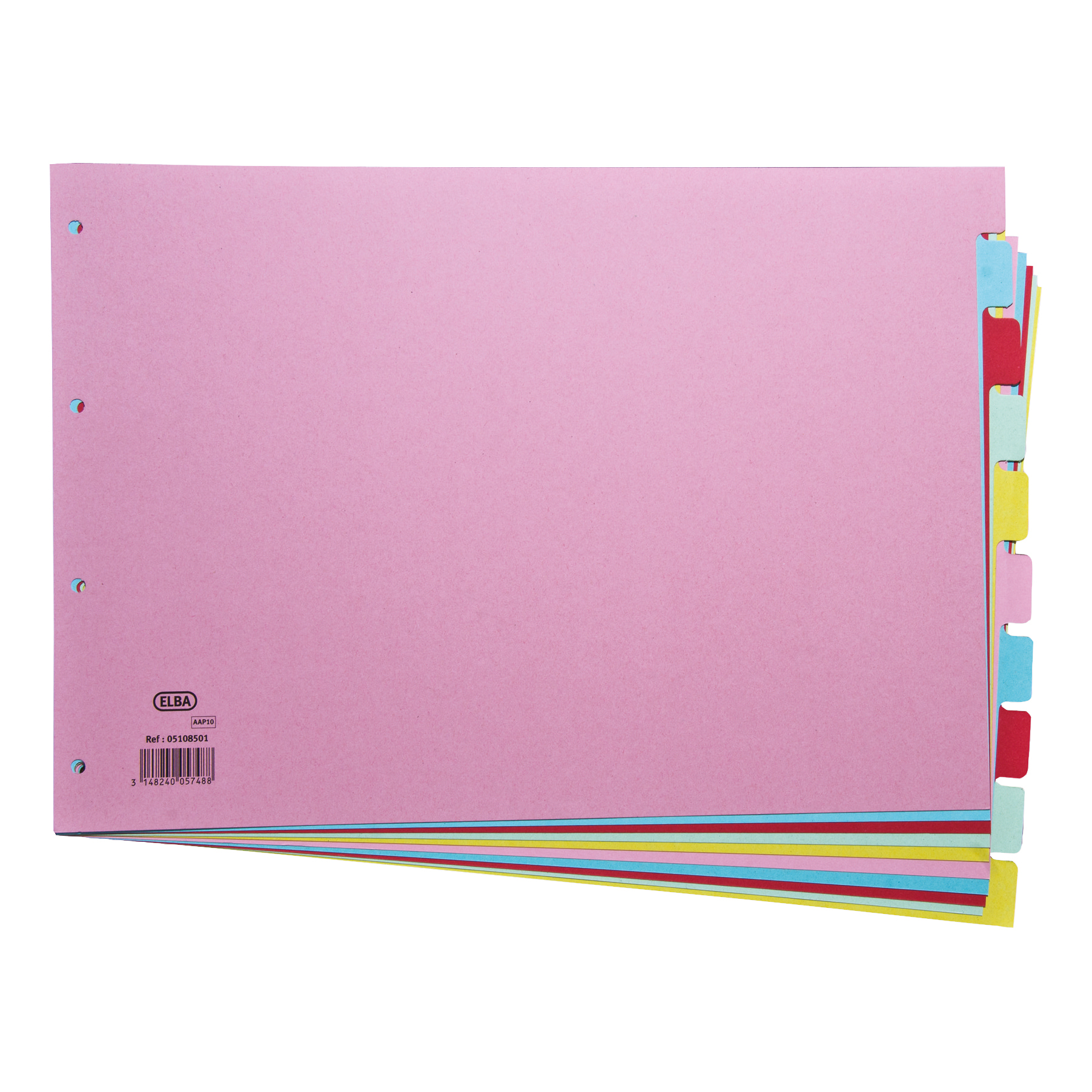 Elba Subject Dividers 10-Part Card Multipunched Recyclable 160gsm A3 Assorted Ref 100080772