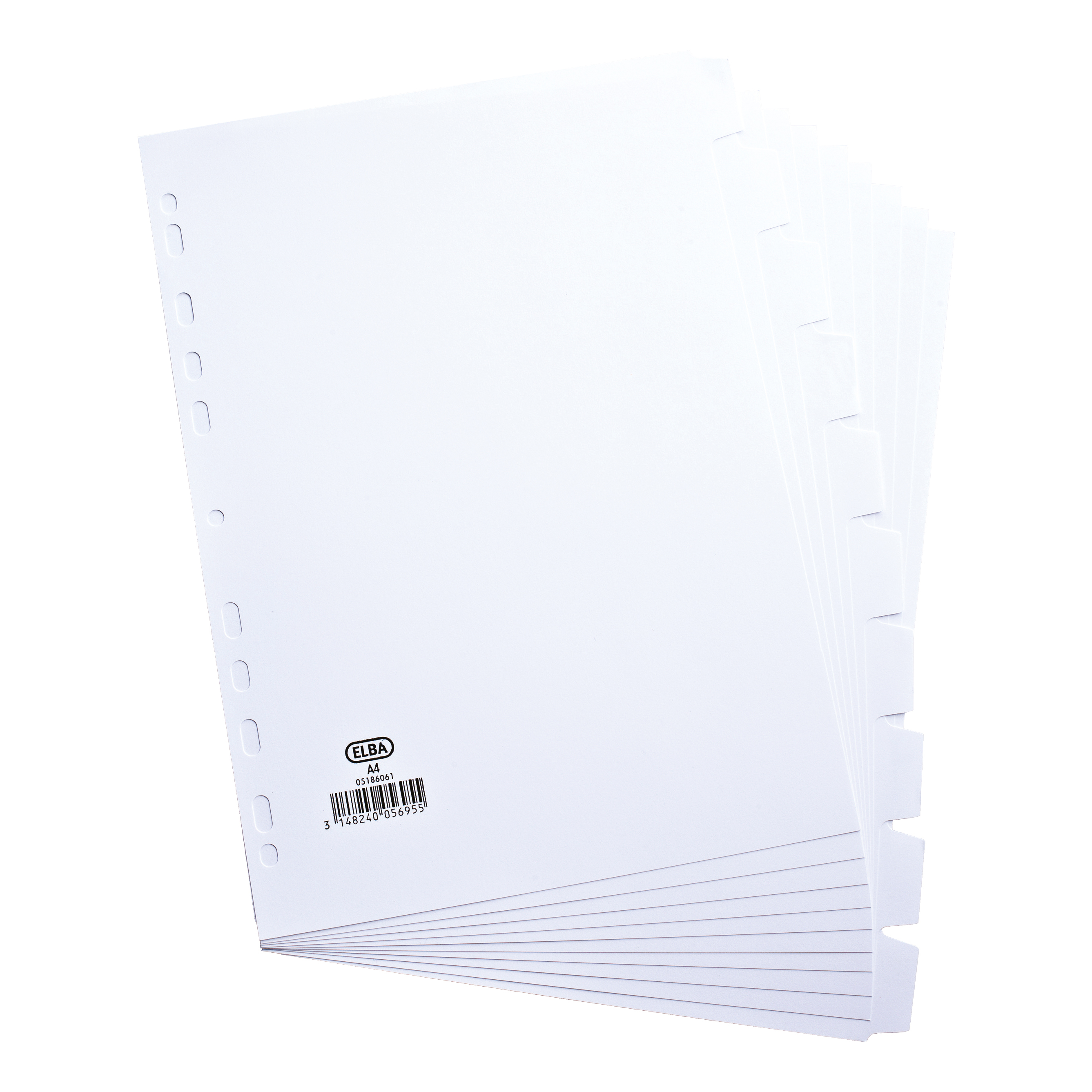Elba Subject Dividers 10-Part Card Multipunched 160gsm A4 White Ref 100204881