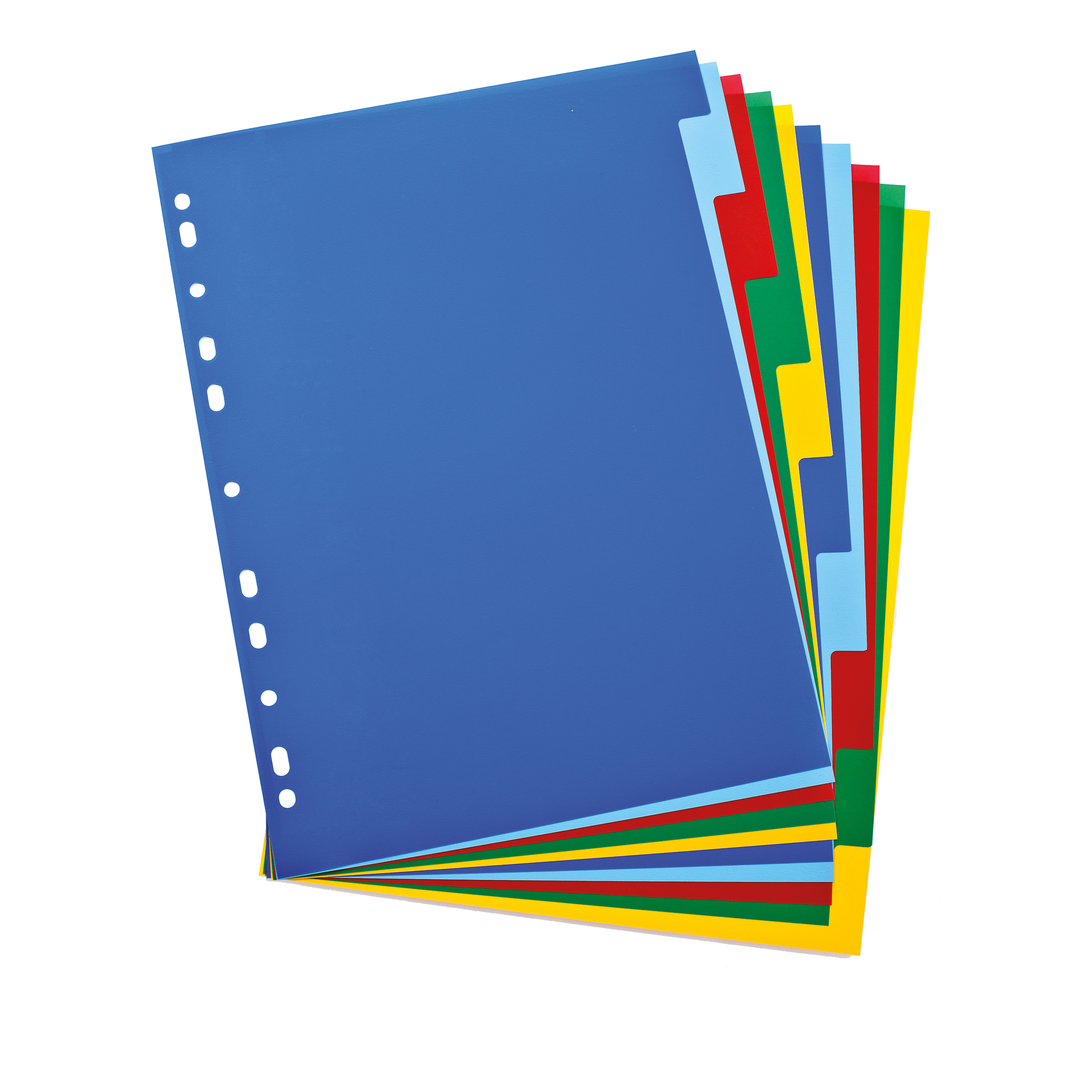 Elba Subject Dividers 10-Part Polypropylene Multipunched Coloured-Tabs 120 Micron A4 White Ref 100205063