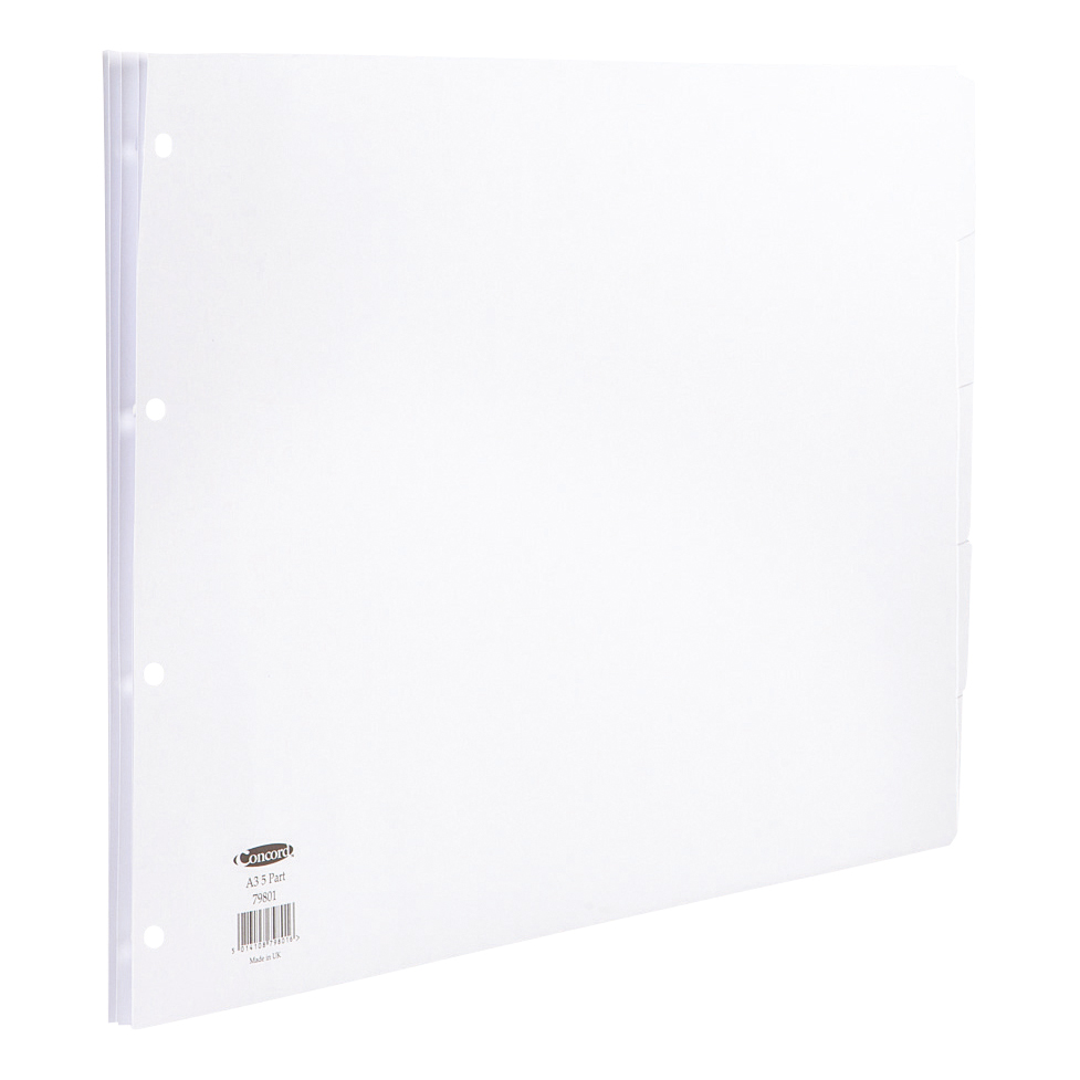 Concord Subject Dividers 5-Part Multipunched 150gsm A3 White Ref 79801