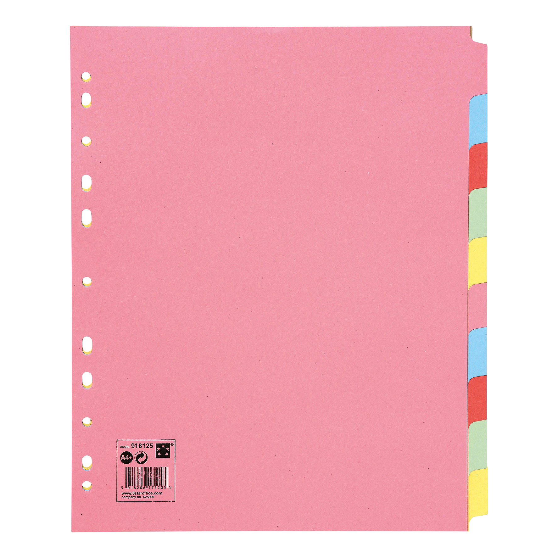 5 Star Office Subject Dividers 10-Part Recycled Card Multipunched Extra Wide 155gsm A4 Assorted