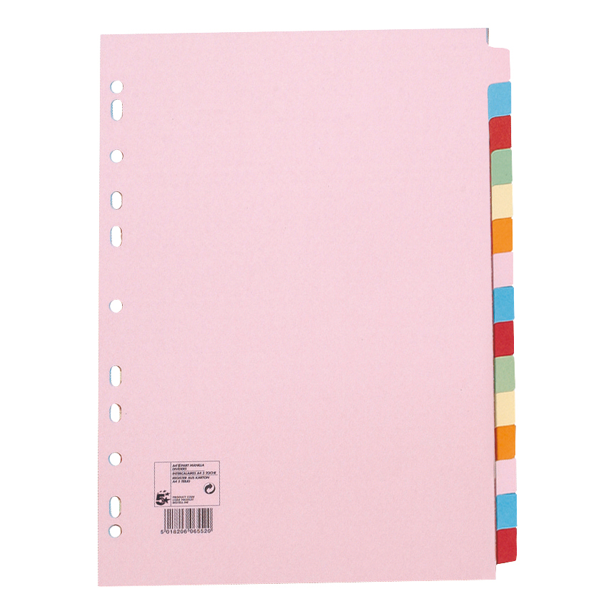 5 Star Office Subject Dividers 15-Part Recycled Card Multipunched 155gsm A4 Assorted [Pack 10]