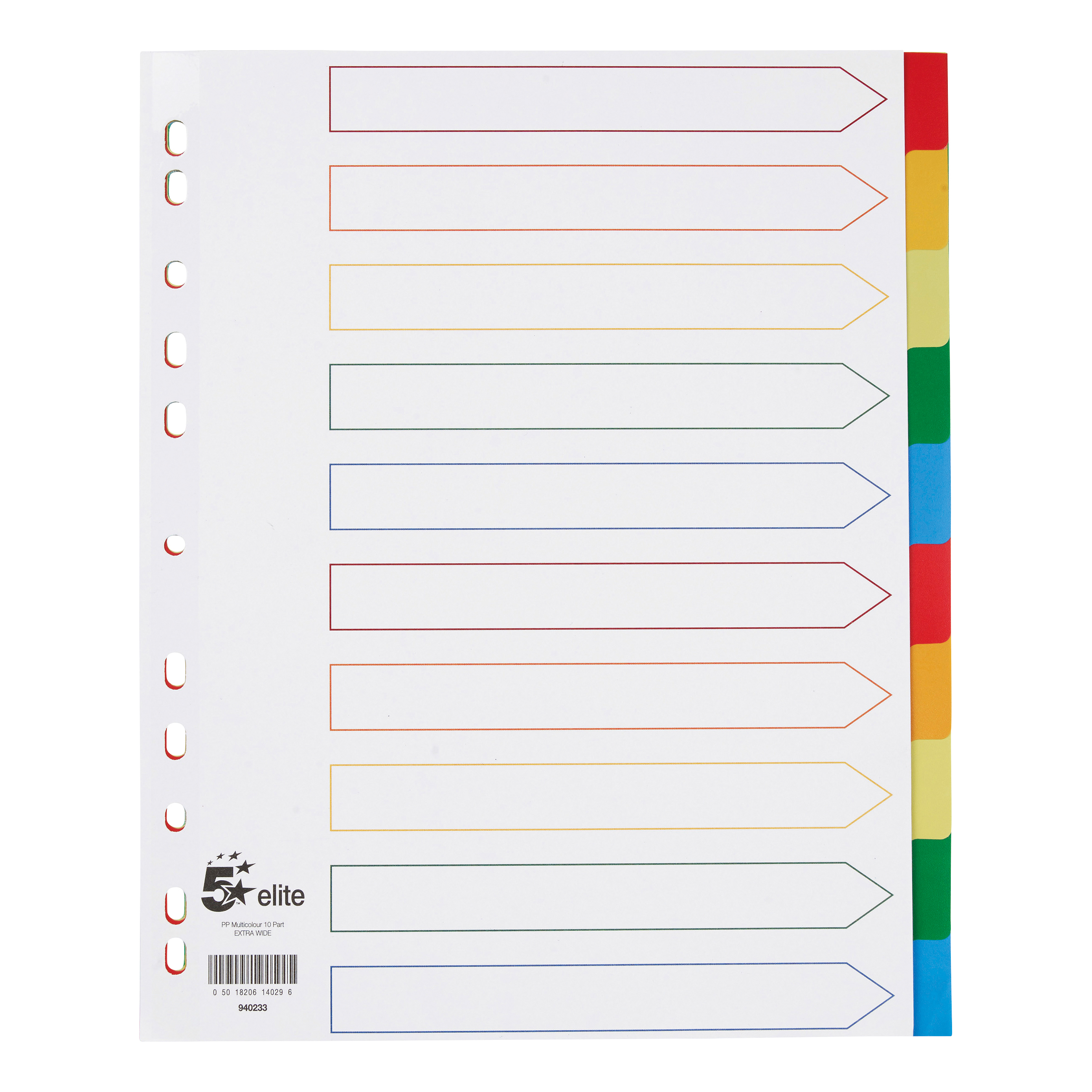 Image for 5 Star Elite Divider 10-Part Polypropylene Punched Reinforced Coloured-Tab 120 Micron Extra Wide A4 White