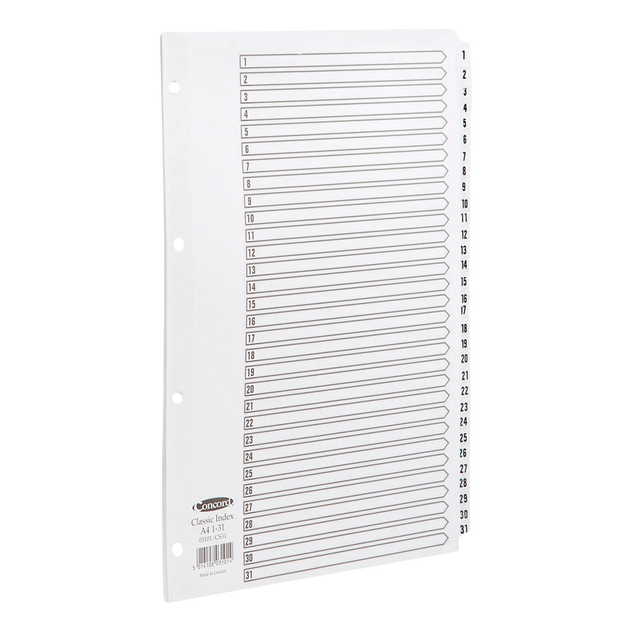 Concord Classic Index 1-31 Mylar-reinforced Punched 4 Holes 150gsm A4 White Ref 03101/CS31