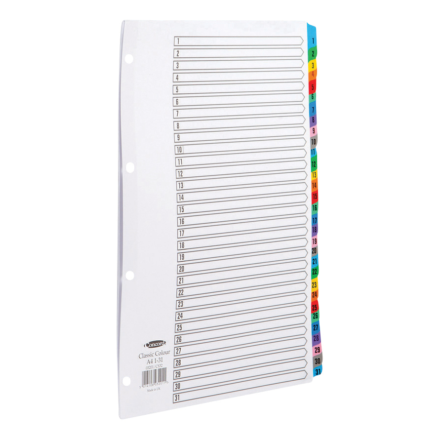 Concord Index 1-31 Mylar-reinforced Multicolour-Tabs Punched 4 Holes 150gsm A4 White Ref CS32