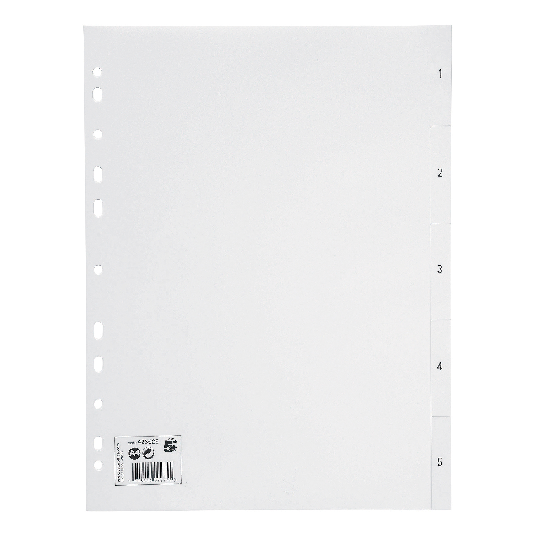 5 Star Office Index 1-5 Polypropylene Multipunched Reinforced Holes 120 Micron A4 White