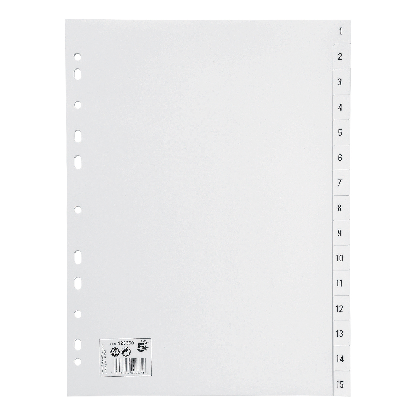 5 Star Office Index 1-15 Polypropylene Multipunched Reinforced Holes 120 Micron A4 White