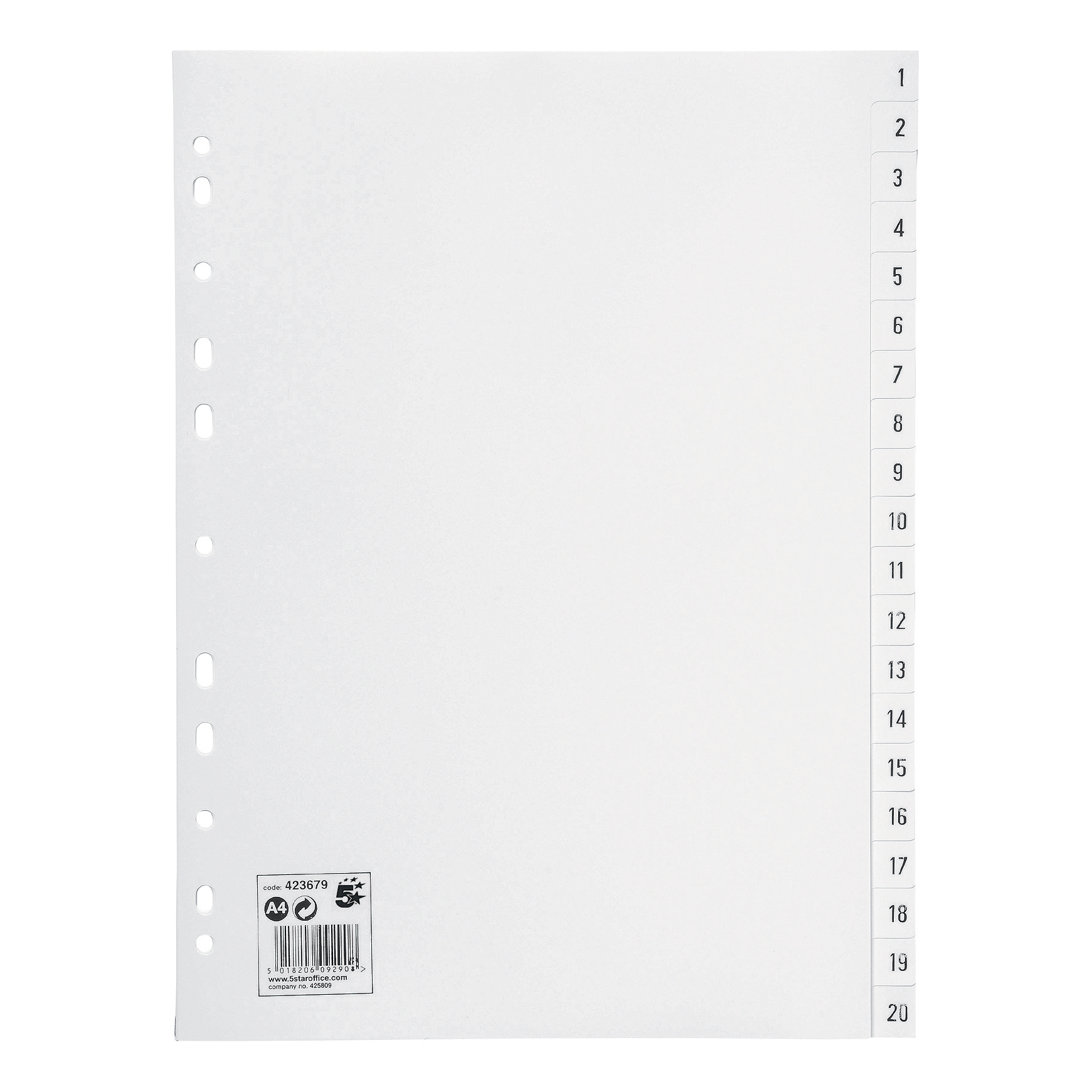 5 Star Office Index 1-20 Polypropylene Multipunched Reinforced Holes 120 Micron A4 White