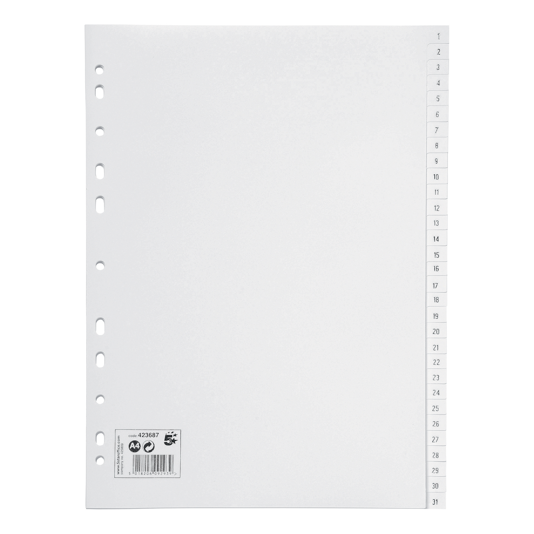 5 Star Office Index 1-31 Polypropylene Multipunched Reinforced Holes 120 Micron A4 White