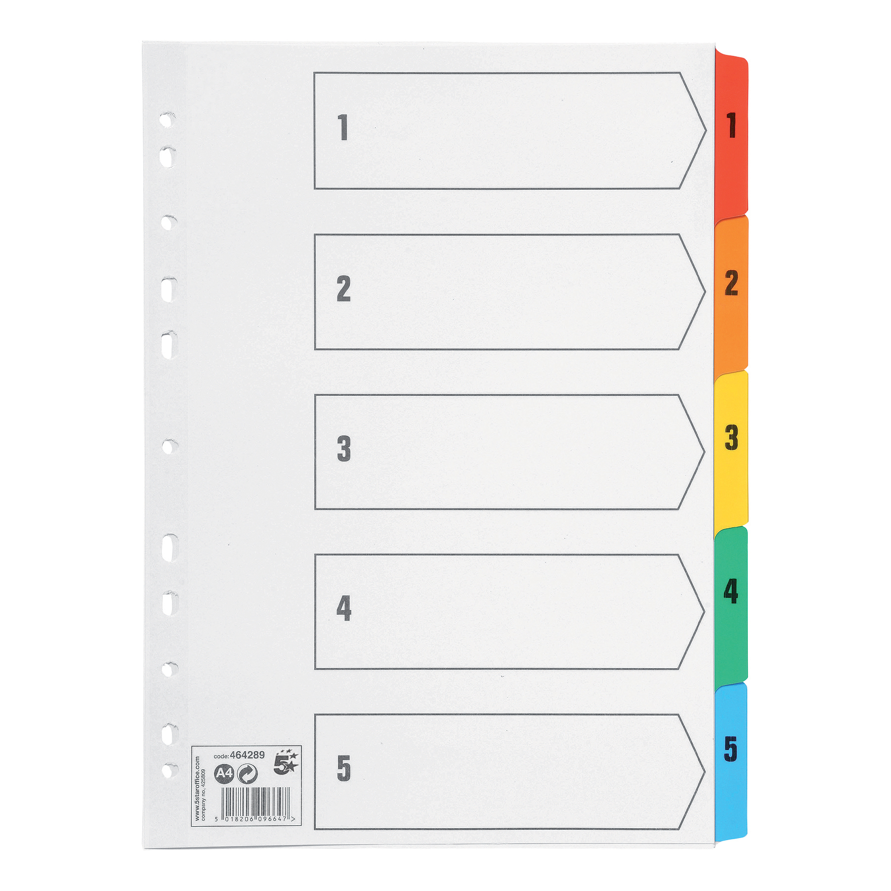 Indexes 5 Star Office Index 1-5 Multipunched Mylar-reinforced Multicolour-Tabs 150gsm A4 White