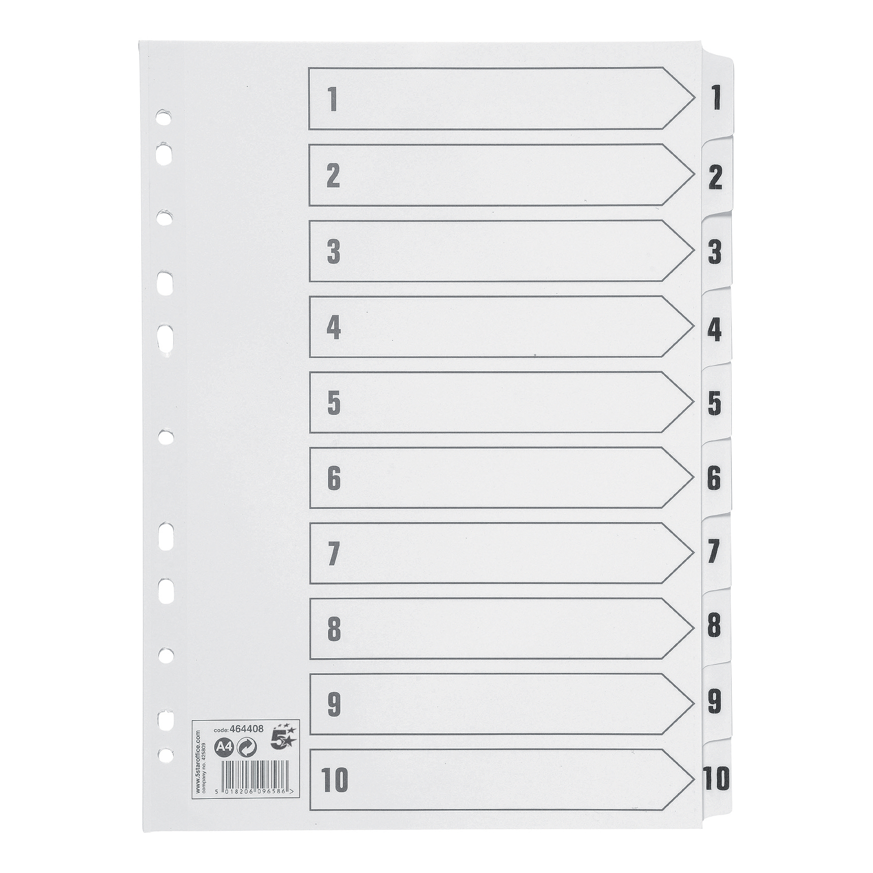 Indexes 5 Star Office Index 1-10 Multipunched Mylar-reinforced Strip Tabs 150gsm A4 White