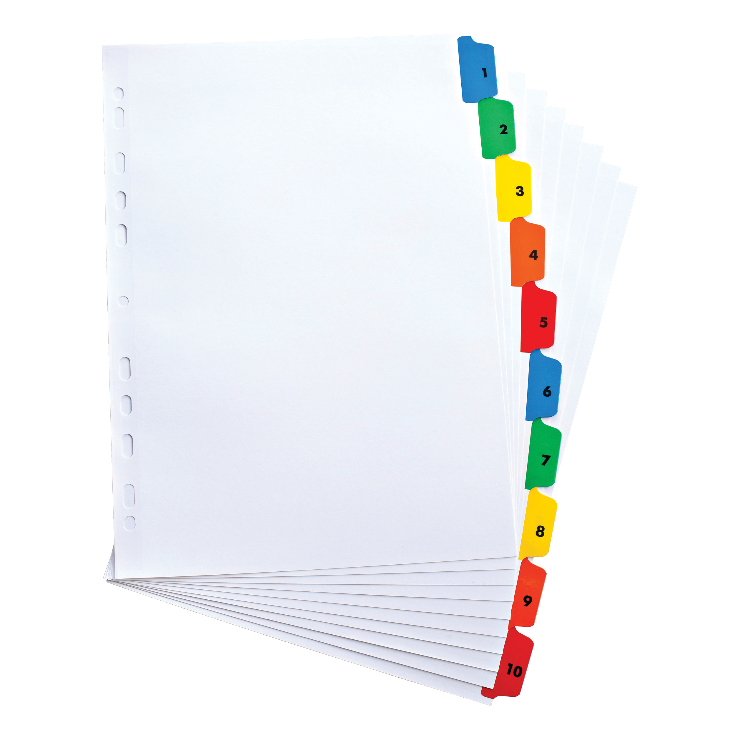 Elba Index 1-10 Multipunched Mylar-reinforced Multicolour-Tabs 170gsm A4 White Ref 100204614