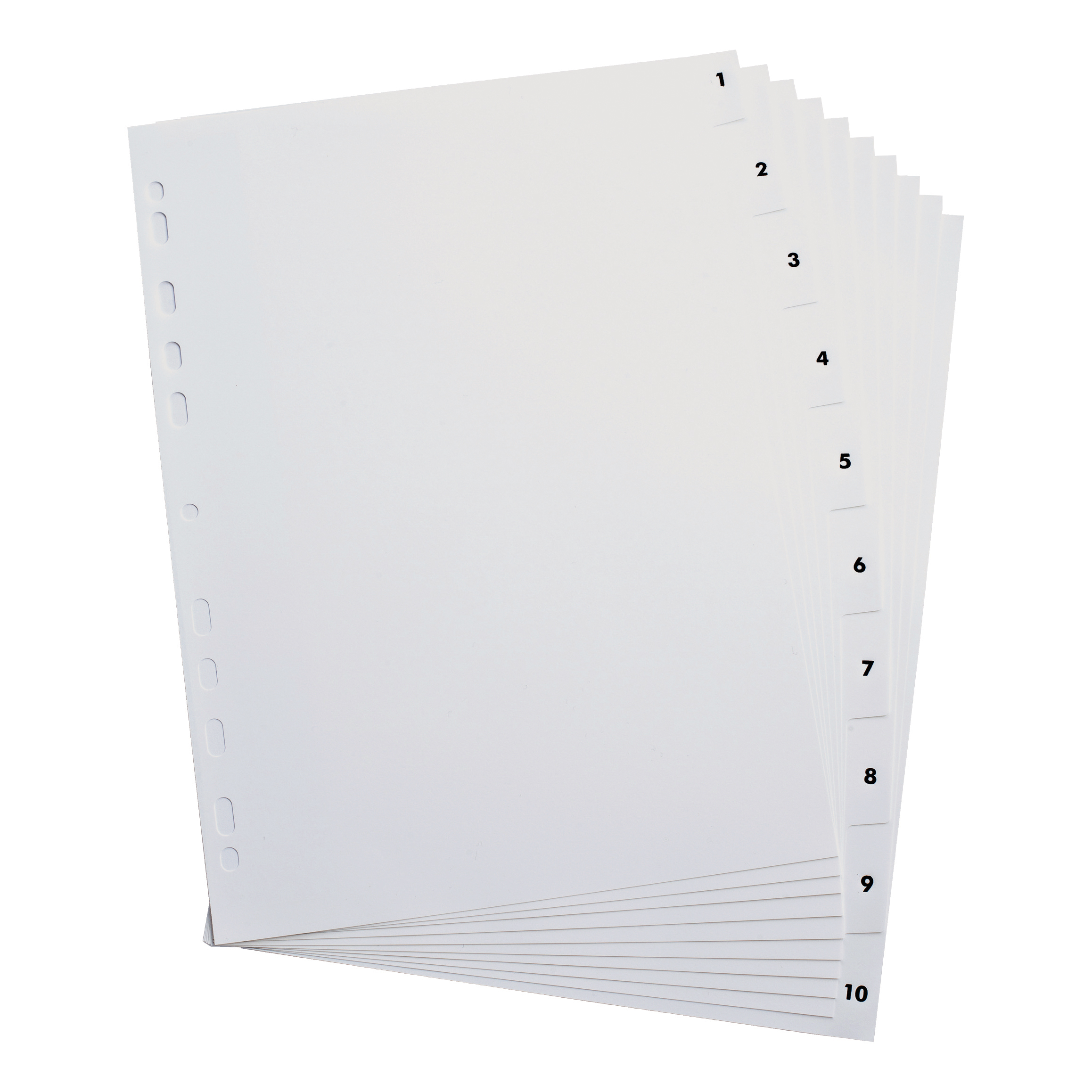 Elba Index 1-10 Polypropylene Multipunched Reinforced Holes 120 Micron A4 White Ref 100204765