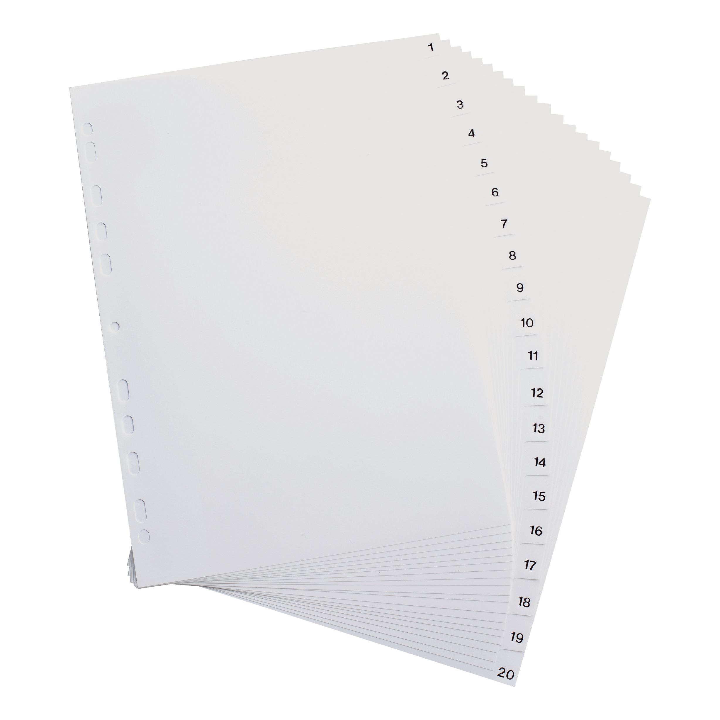 Elba Index 1-20 Polypropylene Multipunched Reinforced Holes 120 Micron A4 White Ref 100204786