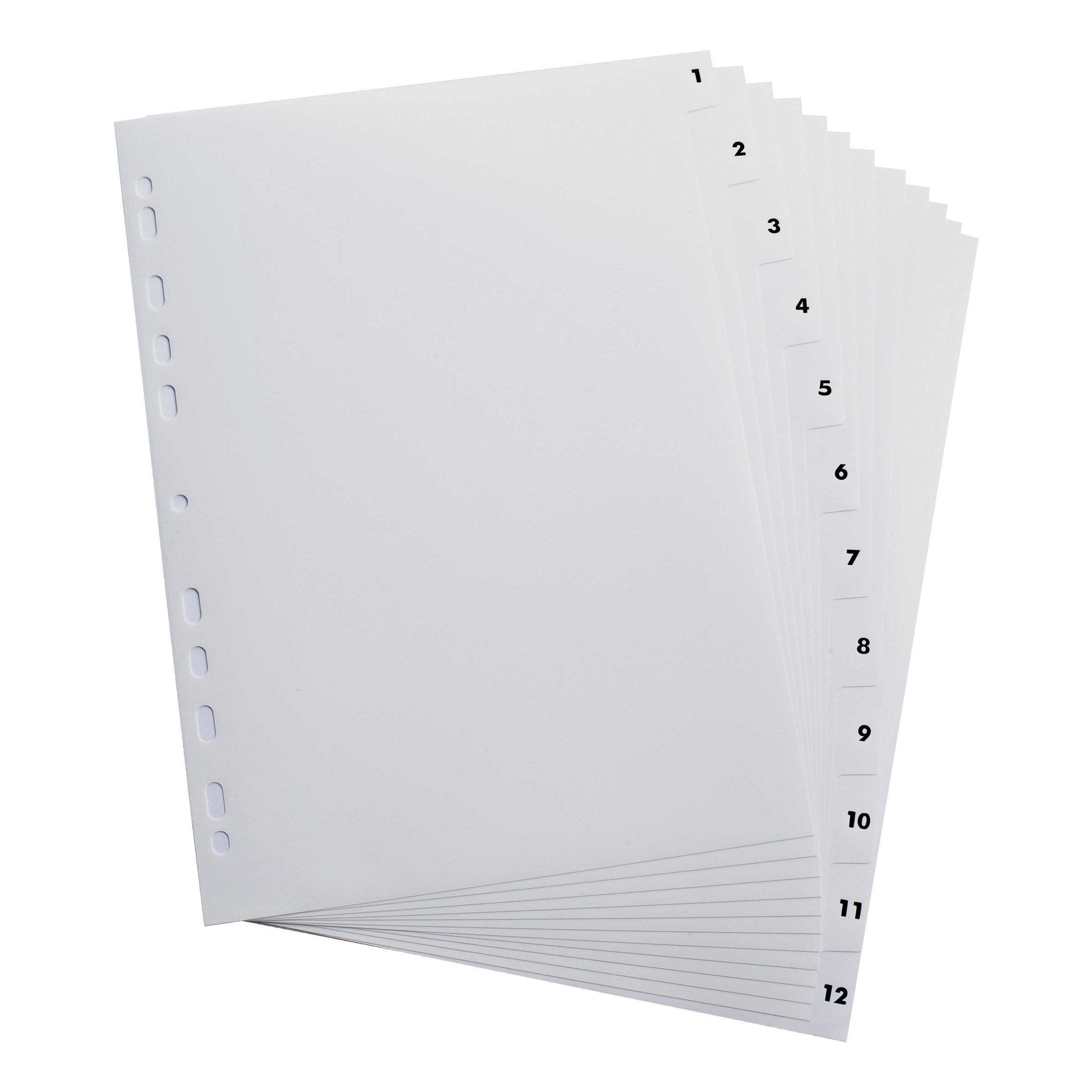 Elba Index 1-12 Polypropylene Multipunched Reinforced Holes 120 Micron A4 White Ref 100204771
