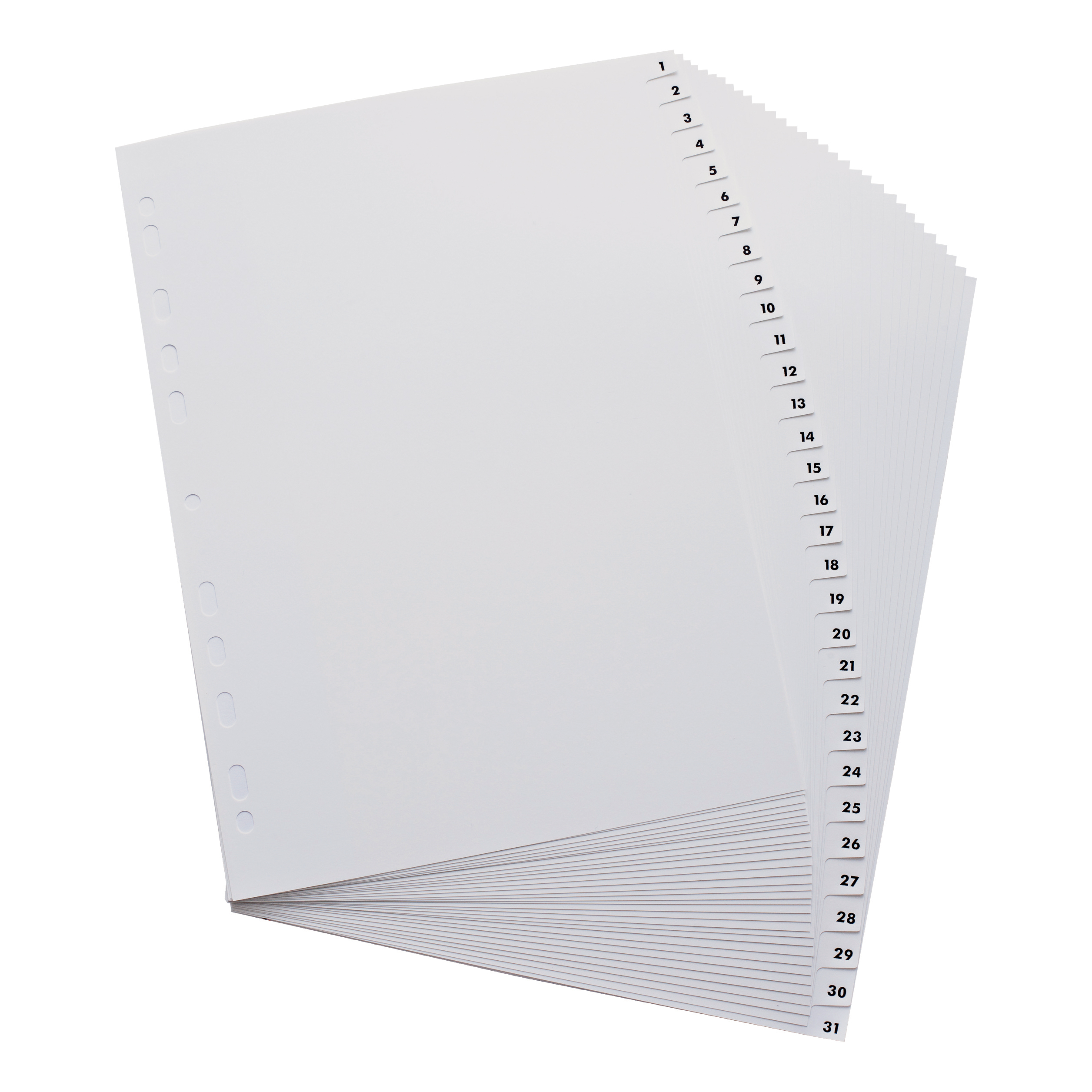 Elba Index 1-31 Polypropylene Multipunched Reinforced Holes 120 Micron A4 White Ref 100204793