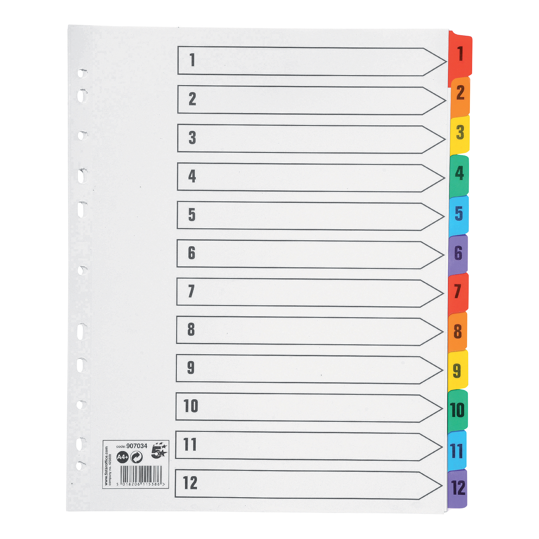 5 Star Office Maxi Index 1-12 Multipunched Mylar-reinforced Multicolour-Tabs 150gsm Extra Wide A4+ White