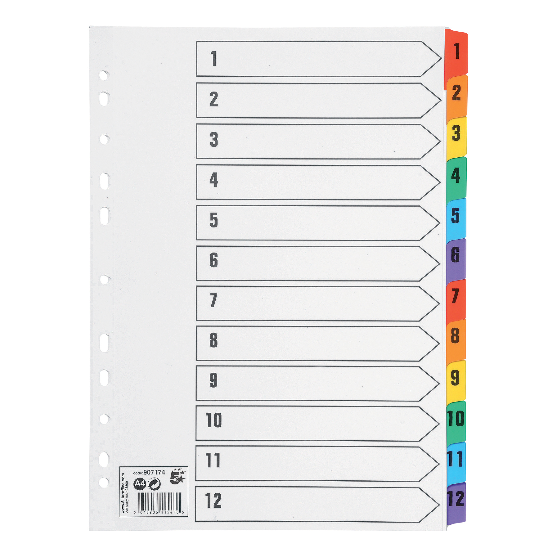 5 Star Office Index 1-12 Multipunched Mylar-reinforced Multicolour-Tabs 150gsm A4 White