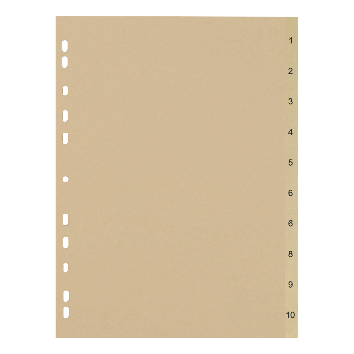 Dividers 5 Star Eco Index 1-10 Recycled Card Multipunched 150gsm A4 Buff