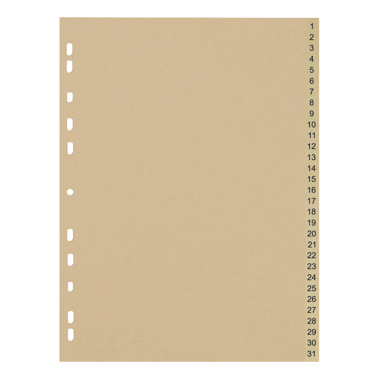 Dividers 5 Star Eco Index 1-31 Recycled Card Multipunched 150gsm A4 Buff